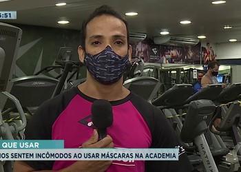 Alunos sentem incômodo ao usar máscaras na academia
