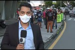 Manifestantes realizam ato de protesto na Av. Nestor Sampaio